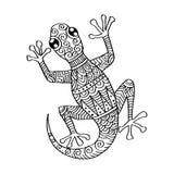 Stam- dekorativ ödla stock illustrationer