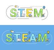Stam en Stoom het Concepten Vectorillustratie van Onderwijsbenaderingen royalty-vrije illustratie