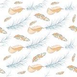Stam- för modellbakgrund för fjäder sömlös stil för illustration för diagram för vektor för beståndsdel för vinge för natur för f stock illustrationer