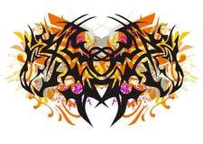 Stam- fjäril för Grunge som bildas av drakehuvud Fotografering för Bildbyråer