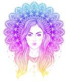 Stam- fusionBoho Diva Härlig gudomlig flicka med utsmyckad manda stock illustrationer