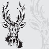 Stam- hjorthuvudtatuering royaltyfri illustrationer