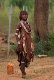 Stam- kvinna i den Omo dalen i Etiopien, Afrika Royaltyfria Foton