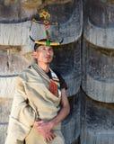 Stam- man för Tangkhul Naga med huvudbonaden Royaltyfri Foto