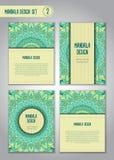 Stam- mandaladesignuppsättning dekorativ elementtappning Arkivbilder