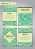 Stam- mandaladesignuppsättning dekorativ elementtappning Royaltyfri Bild