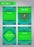 Stam- mandaladesignuppsättning Klotterillustration om skog Royaltyfri Bild