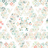 Stam- mexicansk etnisk textur för vektor, modell med band, geometriska trianglar Bakgrund för prydnad för tappningkonsttryck Arkivfoto
