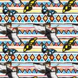 Stam- modell med fjärilar Sömlös bakgrund - infödd stam- prydnad akvarell Fotografering för Bildbyråer