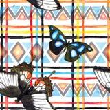 Stam- modell med fjärilar Sömlös modell - etnisk prydnad vattenfärg Royaltyfri Bild