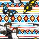 Stam- modell med fjärilar Upprepa bakgrund - folk stam- prydnad för tappning vattenfärg Royaltyfria Bilder