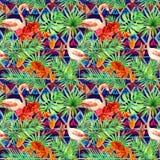 Stam- modell, tropiska sidor, flamingofåglar Upprepad etnisk bakgrund vattenfärg Royaltyfria Bilder