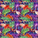 Stam- modell, tropiska sidor, flamingofåglar Upprepad etnisk bakgrund vattenfärg Royaltyfri Bild