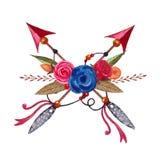 Stam- pilar för vattenfärg Utdragna pilar för hand med blommor Etnisk illustration vektor illustrationer