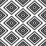 Stam- sömlös modell, svartvit aztec stock illustrationer