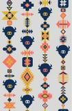 Stam- sömlös vektormodell med skallar av djur, utdragen bakgrund för hand Dekorativ etnisk prydnad Modern bohostil stock illustrationer