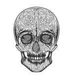 Stam- stil för mänsklig skalle Tatueringblackwork Tecknad illustration för vektor hand Boho Arkivfoto