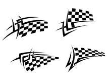 Stam- tatuering med den tävlings- flaggan Arkivfoto