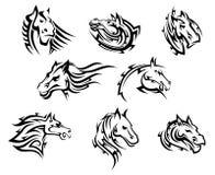 Stam- tatueringar för hästhuvud stock illustrationer