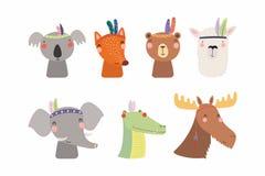 Stam- uppsättning för gulliga små djur royaltyfri illustrationer