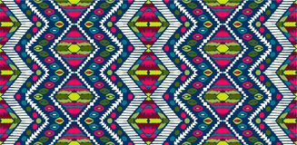 Stam- vektorprydnad seamless afrikansk modell Etnisk matta med sparrar Aztec stil stock illustrationer