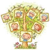 Stamboom in beelden, weinig kind met zijn ouders en grootouders stock illustratie