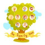 Stamboom met portretten van verwanten, genealogische boom vectorillustratie Stock Foto's