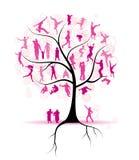 Stamboom, verwanten, mensensilhouetten Royalty-vrije Stock Afbeeldingen