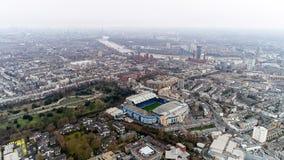 Stamford-Brücken-Ausgangsstadion von Chelsea Football Club Aerial View Stockfotos