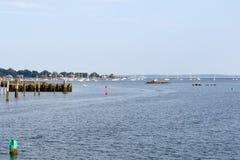 Stamford Harbor Sailboats at sunset Stock Images