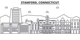 Stamford, linea illustrazione di architettura di Connecticut dell'orizzonte Paesaggio urbano lineare con i punti di riferimento f royalty illustrazione gratis