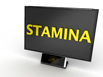 Stamina Monitor. Black monitor on white background with yellow text stamina Stock Photography