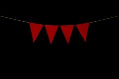 Stamina, quattro triangoli rossi su corda per il messaggio dell'insegna Fotografie Stock Libere da Diritti