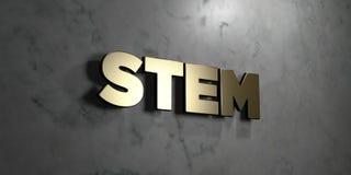 Stamm - Goldzeichen angebracht an der glatten Marmorwand - 3D übertrug freie Illustration der Abgabe auf Lager lizenzfreie abbildung