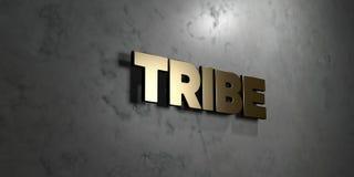 Stamm - Goldzeichen angebracht an der glatten Marmorwand - 3D übertrug freie Illustration der Abgabe auf Lager stock abbildung