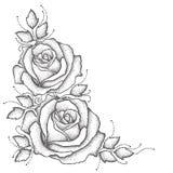 Stamm mit punktierter rosafarbener Blume und Blättern auf weißem Hintergrund Florenelemente in dotwork Art lizenzfreie abbildung