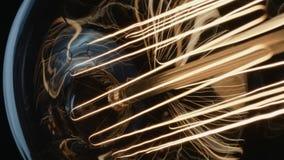 Stamm und Verdrahten innerhalb einer glühenden Weinlese Edison Light Bulb stock video footage