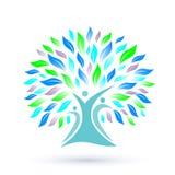 Stammbaum-Logo mit bunten Blättern auf weißem Hintergrund Lizenzfreies Stockfoto