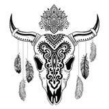 Stammen dierlijke schedelillustratie met etnisch Stock Afbeeldingen