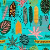 Stammen naadloos patroon met abstracte bladeren Royalty-vrije Stock Fotografie