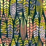 Stammen naadloos patroon met abstracte bladeren Stock Fotografie