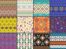Stammen naadloze patroon vector etnische textuur met abstract ornament en geometrische druktextiel voor decoratie stock illustratie