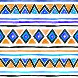 Stammen patroon Naadloze achtergrond - uitstekend boho etnisch ontwerp watercolor royalty-vrije stock foto