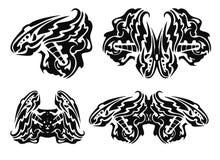 Stammen zwarte vleugelselementen Stock Afbeeldingen
