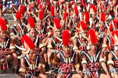 Stammenkunstenaars en toeschouwers bij het trefpunt van Hornbill-Festival stock foto