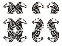 Stammenpaardhoofd en paardenelementen Royalty-vrije Stock Afbeelding