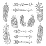 Stammenveren en pijlen Azteekse Indische manierelementen met de traditionele inzameling van patroon vectorbeelden vector illustratie