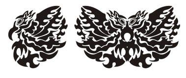 Stammenvogelvleugel en vlinder Stock Afbeeldingen