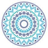 Stammes- aztekisches geometrisches Volksmuster im Kreis - Blau, Marine und Türkis Lizenzfreie Stockfotos