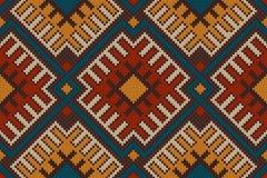 Stammes- aztekisches nahtloses Muster auf der Wolle strickte Beschaffenheit Lizenzfreies Stockfoto